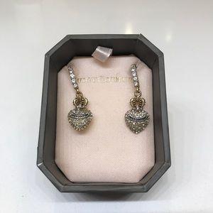 NWOT Juicy Couture Pave Heart & Crown Drop Earings